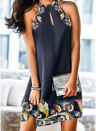 Druck/Blumen Ärmellos Shift Knielang Elegant Kleider