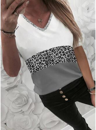 Farbblock Leopard Pailletten V-Ausschnitt 1/2 Ärmel T-Shirts