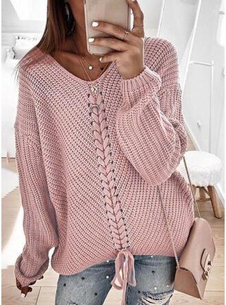 Einfarbig Gerippt Grobstrick V-Ausschnitt Pullover