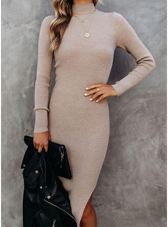 Solid Knit Long Sleeves Sheath Knee Length Casual Dresses