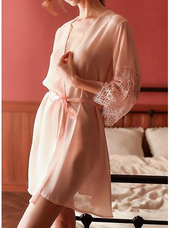 Polyester Spitze Einfarbig Sexy Kleid