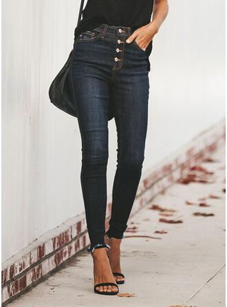 Taschen Shirred Übergröße Quaste Lange Lässige Kleidung Sexy Denim Jeans