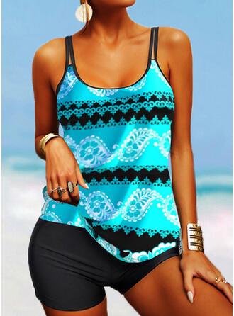 Print Splice color Strap U-Neck Plus Size Boho Tankinis Swimsuits