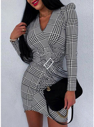 Plaid Long Sleeves Bodycon Mini Office/Business Dresses