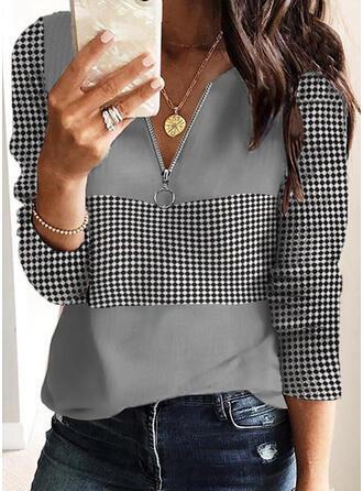 PolkaDot V-Neck Long Sleeves T-shirts