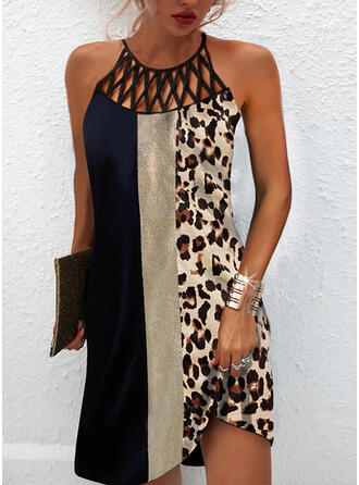 Print/Color Block/Leopard Sleeveless Shift Above Knee Casual Dresses