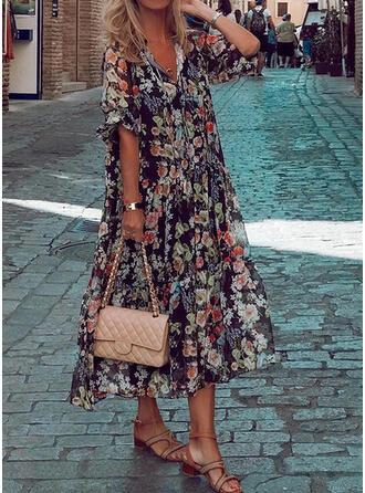 Druck/Blumen 1/2 Ärmel Shift Tunika Freizeit/Urlaub Midi Kleider