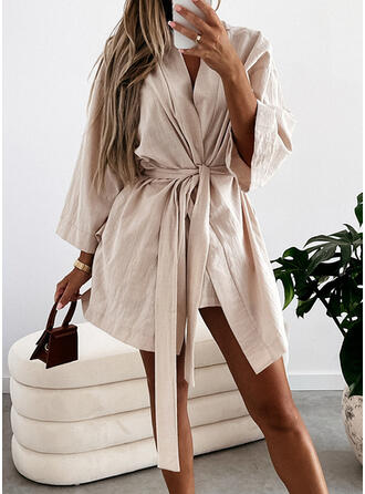 Solid Long Sleeves A-line Above Knee Casual Wrap/Skater Dresses