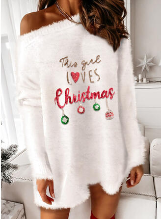 Christmas Print/Heart/Letter Long Sleeves Dropped Shoulder Party Dresses