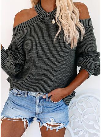 Einfarbig Gerippt Kalte Schulter Freizeit Pullover
