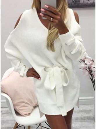 Einfarbig Grobstrick Kalte Schulter Freizeit Lang Pulloverkleid
