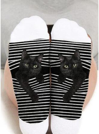 Tier/Druck Atmungsaktiv/Crew Socks/Schwarze Katze/Unisex Socken