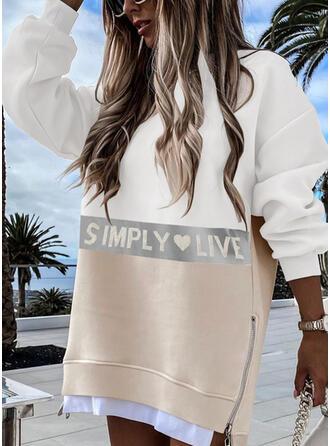 Print/Color Block/Heart/Letter Long Sleeves Dropped Shoulder Shift Above Knee Casual Sweatshirt Dresses