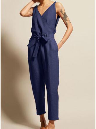 Einfarbig V-Ausschnitt Ärmellos Lässige Kleidung Overall