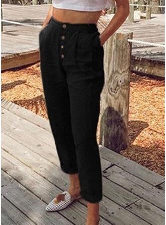 Taschen Shirred Übergröße Lange Lässige Kleidung Einfarbig Hosen