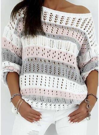 Geblockte Farben One-Shoulder Freizeit Pullover