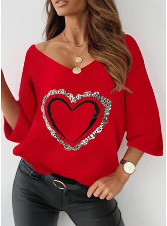 Heart Print Sequins V-Neck 3/4 Sleeves T-shirts