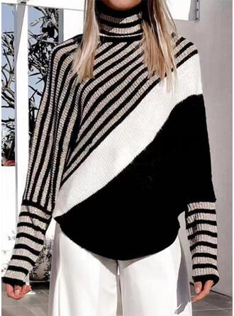Print Color Block Striped High Neck Casual Sweaters