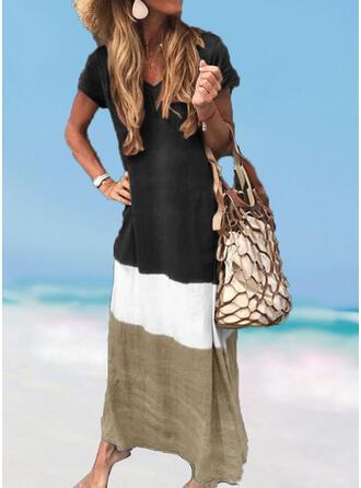 Spleiß Farbe V-Ausschnitt Frisch Übergröße Boho Strandmode Bademode