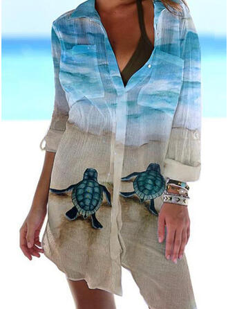 Animal Print V-Neck Casual Cover-ups Swimsuits