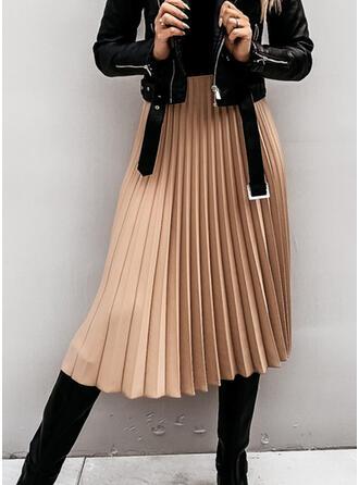 Baumwollmischungen Einfarbig Midi Faltenröcke A-Linie Röcke