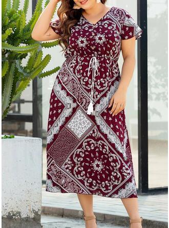 Große Größen Druck Kurze Ärmel A-Linien-Kleid Midi Boho Lässige Kleidung Urlaub Kleid