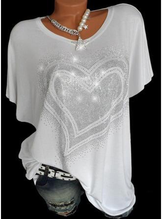 Herz Pailletten Rundhalsausschnitt Kurze Ärmel T-Shirts
