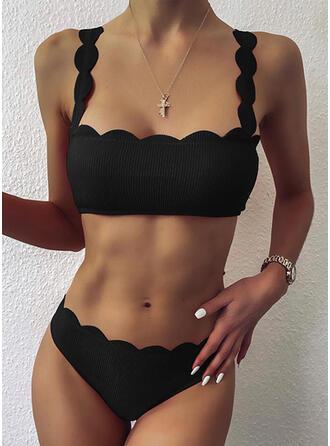 Einfarbig Hochdrücken Wellenschnitt Träger Sexy Vintage Bikinis Bademode