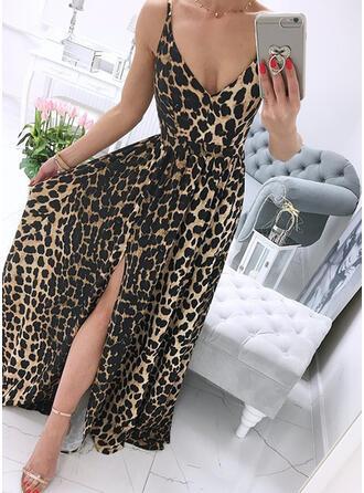 Leopard Ärmellos A-Linien Slips/Skater Freizeit Maxi Kleider