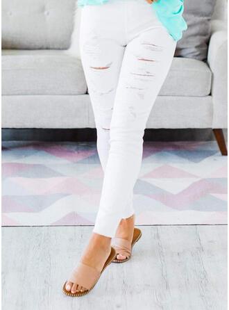Einfarbig Zerrissen Dünn Einfarbig Denim Jeans