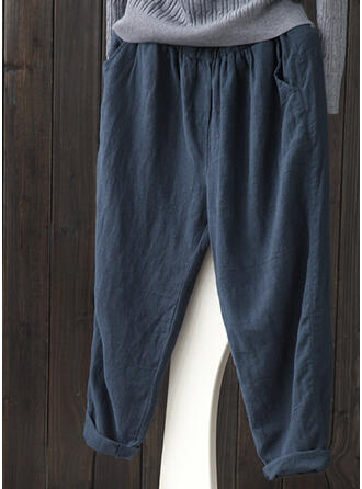 Taschen Shirred Übergröße Lässige Kleidung Einfarbig Hosen