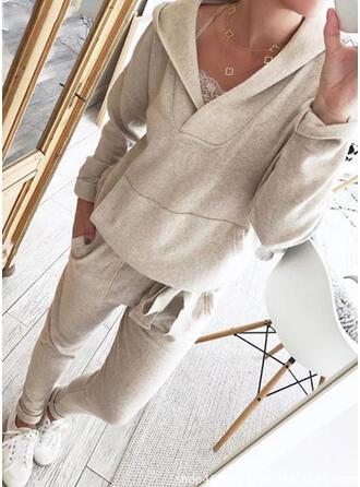 Einfarbig Übergröße Kordelzug Lässige Kleidung Einfach Dehnbar Anzüge