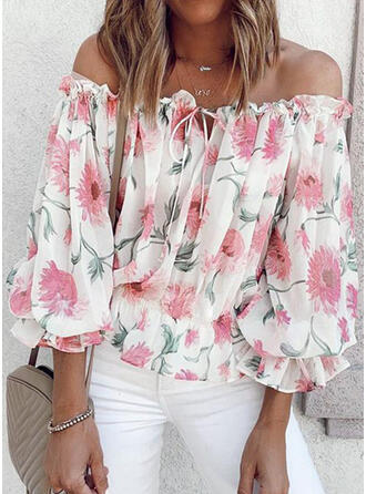 Print Floral Chiffon Off the Shoulder 3/4 Sleeves Dropped Shoulder Casual Blouses