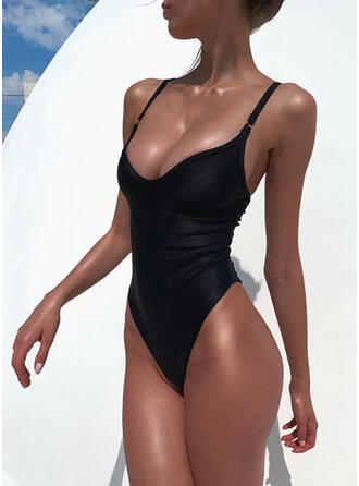 Einfarbig Träger V-Ausschnitt Sexy Klassisch Badeanzüge Bademode