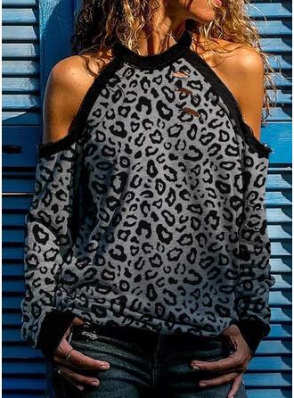 Leopard Kalte Schulter Lange Ärmel Freizeit Sexy Blusen