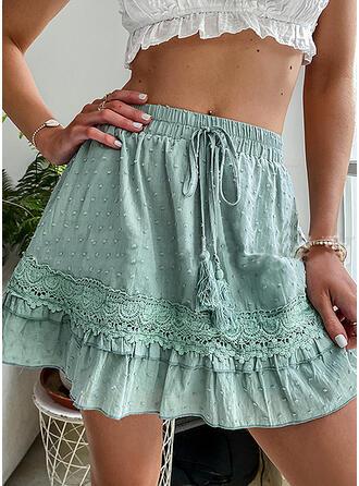 Baumwollmischungen Einfarbig Lace Über dem Knie Faltenröcke