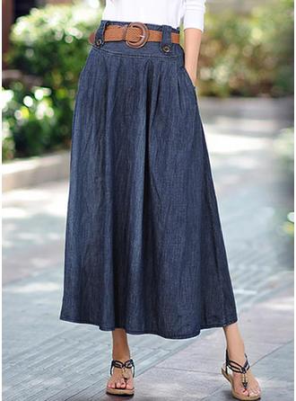 Baumwolle Einfarbig Maxi A-Linie Röcke