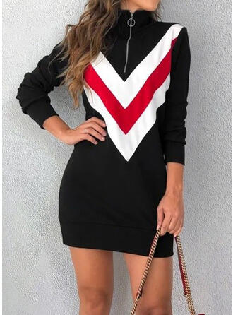 Color Block Long Sleeves Bodycon Mini Casual Dresses