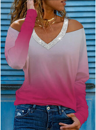 Gradient Sequins Cold Shoulder Long Sleeves T-shirts