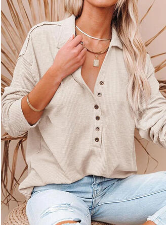 Solid Lapel 1/2 Sleeves T-shirts
