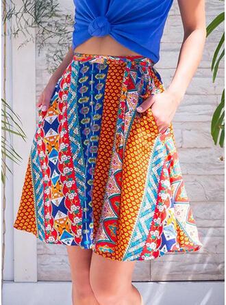Polyester Drucken Über dem Knie A-Linie Röcke