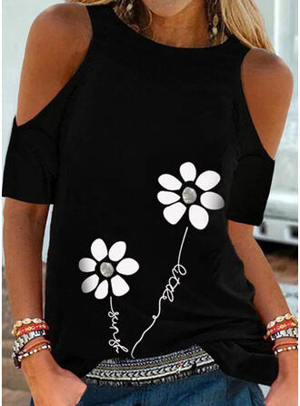 Drucken Blumen Figur Kalte Schulter Kurze Ärmel Freizeit Blusen