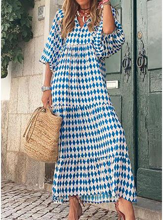 Print 3/4 Sleeves Puff Sleeve Shift Casual Maxi Dresses