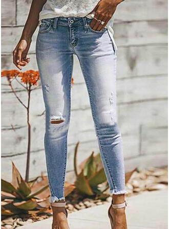 Taschen Shirred Übergröße Zerrissen Lange Sexy Einfach Denim Jeans