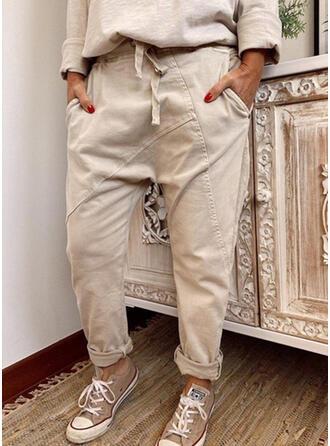 Einfarbig Shirred Kordelzug Lange Lässige Kleidung Stammes Einfach Hosen