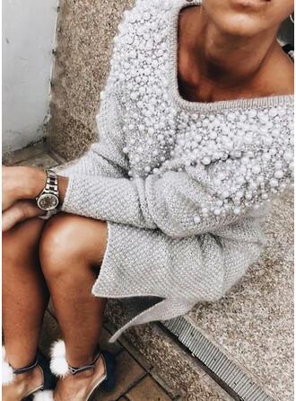 Einfarbig Perlen V-Ausschnitt Freizeit Lang Pulloverkleid