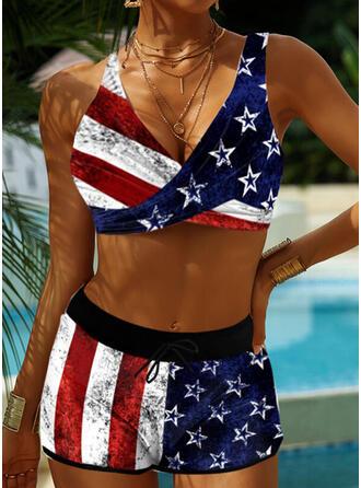 Flagge Gestreift Spleiß Farbe Neckholder V-Ausschnitt Lässige Kleidung Bikinis Bademode