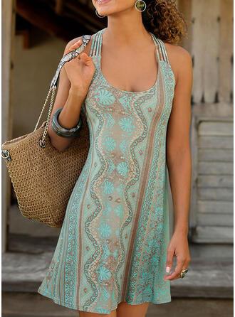 Print/Backless Sleeveless Shift Above Knee Casual/Boho/Vacation Dresses