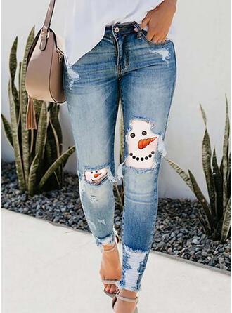 Geometrisch Druck Übergröße Zerrissen Weihnachten Sexy Jahrgang Denim Jeans