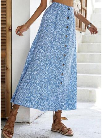 Polyester Print Mid-Calf A-Line Skirts